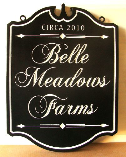 "O24020 - Elegant Engraved Premier Farm Sign with Gold Leaf,, ""Belle Meadows Farm"""