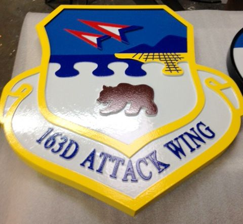 LP-2240 - Carved Shield Plaque of the Crest of the 163rd Attack Wing, Artist Painted
