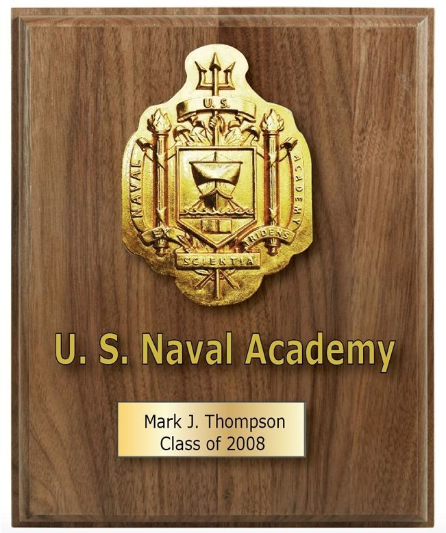 JP-2362 - Carved 3D HDU Seal of US Naval Academy at Annapolis, Mounted on a Wood Plaque with an Engraved Brass Plate with Name of Academy Graduate