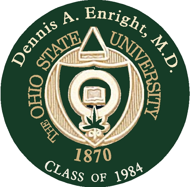 Y34370 - Carved 2.5-D Flat Relief Wall Plaque of the Seal of Ohio State University (Personalized with Name of Graduate)