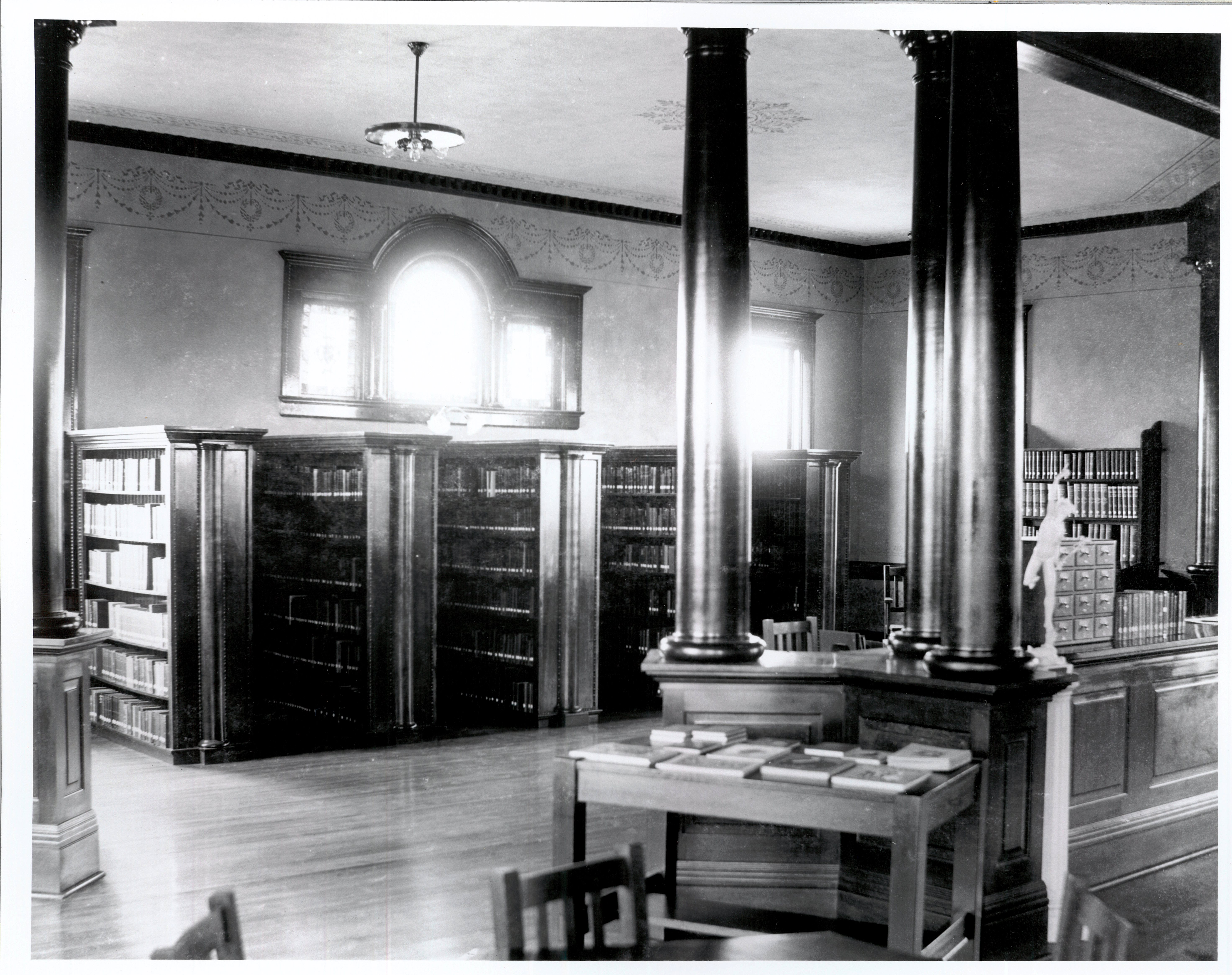 circulation desk and stacks looking SE