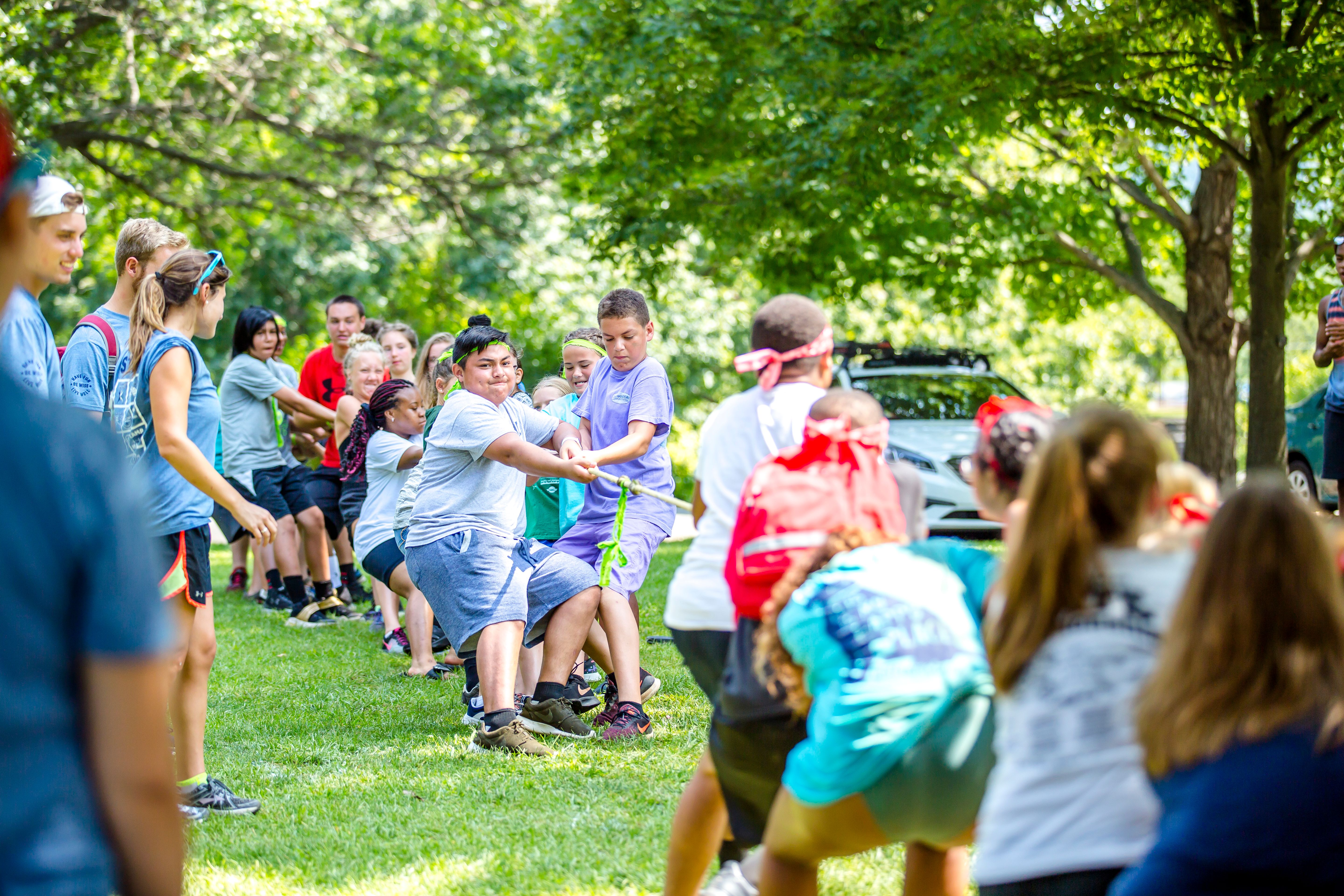 Campers play tug-of-war