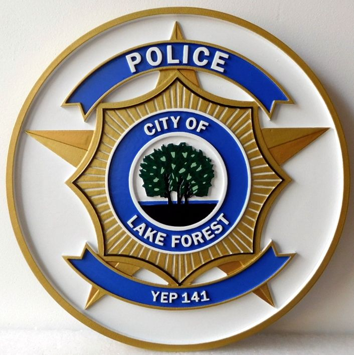 PP-3065 - Carved Plaque of the Seal of the Police of the City of Lake Forest, 2.5-D Artist-Painted