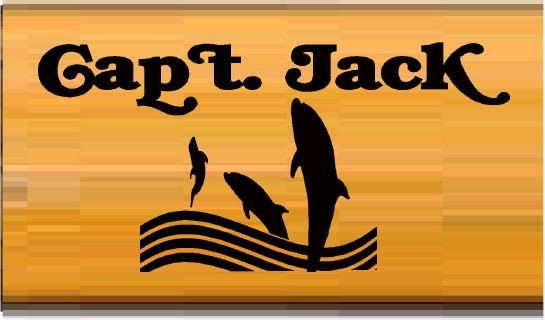 L21988 - Cedar Wood Sign for Captain Jack with Leaping Dolphins in Ocean Waves