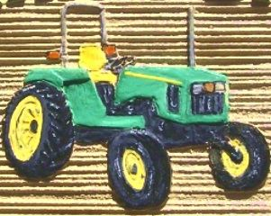 O24724 - Close-Up of Painted, 3-D Tractor on Sandblasted HDU Sign