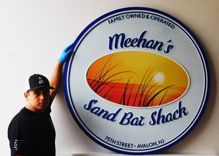"Q25161 - Carved Sign for ""Meehan's Sand Bar Shack""  Restaurant, with a Giclée  Print of a Painting of a Sunset over the Ocean."