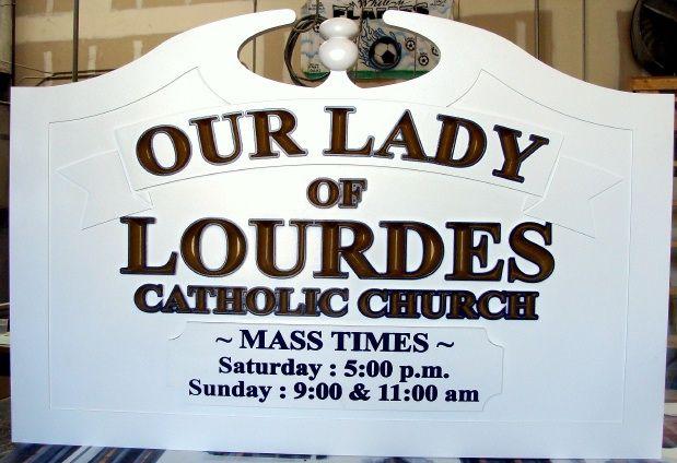 D13052 - Catholic Church Carved Entrance Sign