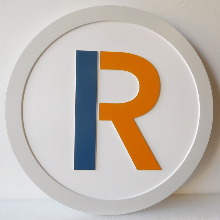 "SA28434 - Carved Round High Density Urethane (HDU) Sign for the  ""R"" Shop."