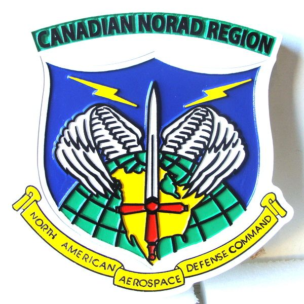 V31995A - Carved Wooden Wall Plaque of the Shield and Crest of the North American Aerospace Defense Command (NORAD)