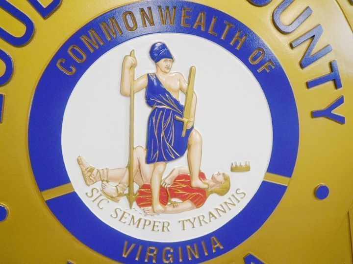 W32504 -Carved 3-D HDU  Plaque of the Artwork for the Great Seal of the State of Virginia