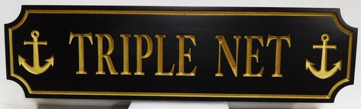 "L21899 - Engraved Quarterboard Sign ""Triple Net"" for a Coastal Residence, with 24K Gold-Leaf Gilding"