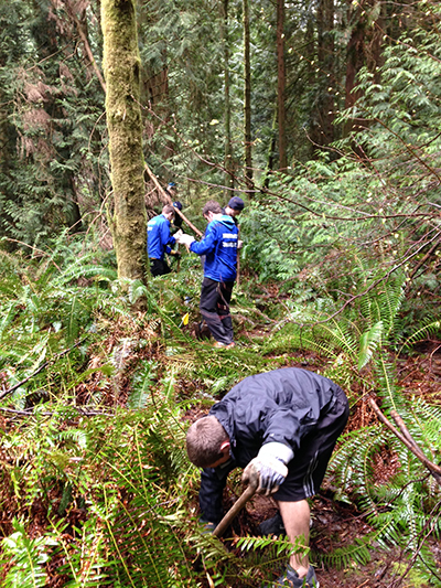 Northwest University Cross Country Team trail restoration event April 5, 2014
