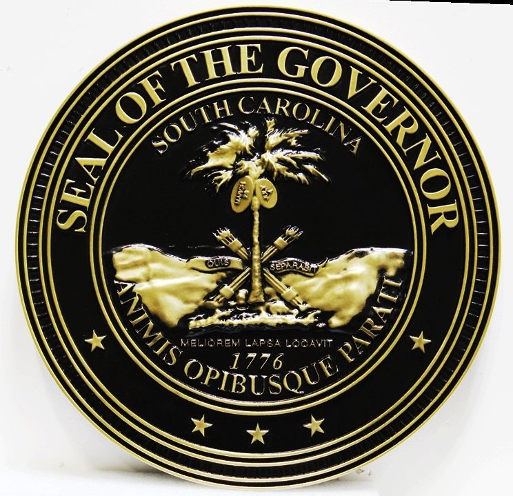 M7135 - Carved 3D PolishedBrass Wall Plaque for the Seal of the Governor of South Carolina,