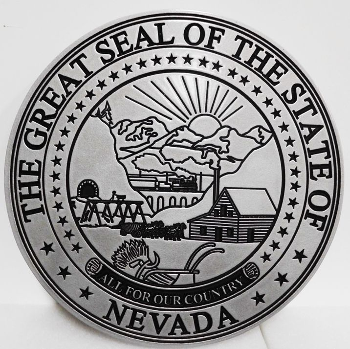 BP-1340 - Carved Plaque of the Great Seal of the State of Nevada, Engraved 2.5-D Aluminum-Plated