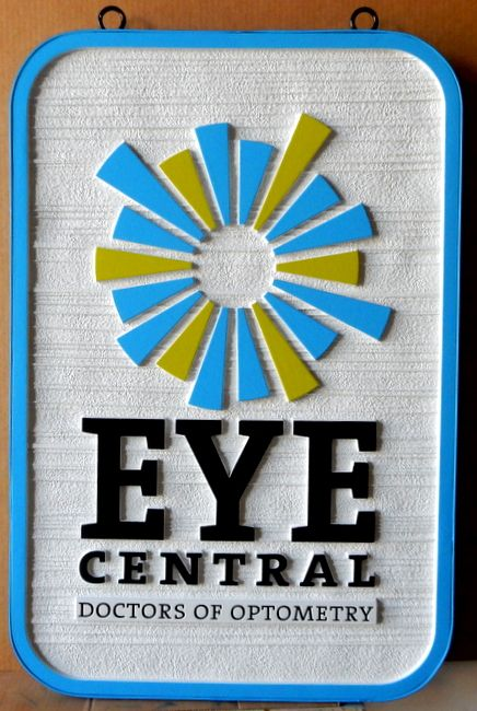B11017 - Sandblasted HDU Optometric Practice Sign with Carved, Raised Logo and Border
