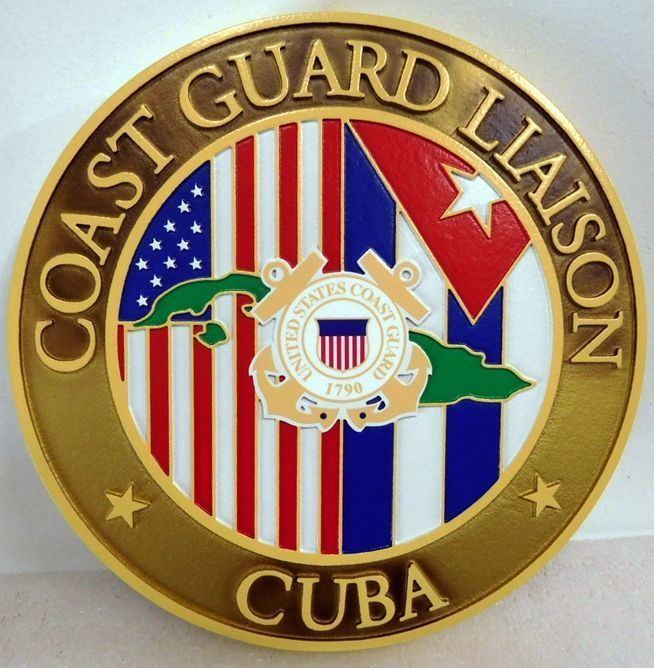 Y31923 - Carved 2.5-D HDU Plaquefor the Coast Guard Liason in Cuba, with US and Cuban Flags and Map of Cuba as Artwork