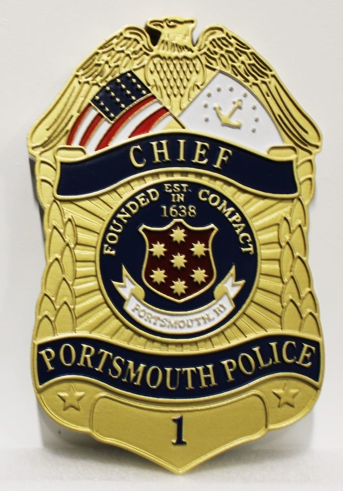 PP-1322 -Carved 2.5-D HDU Plaque of the Badge of the Chief of Police, Portsmouth, Rhode Island
