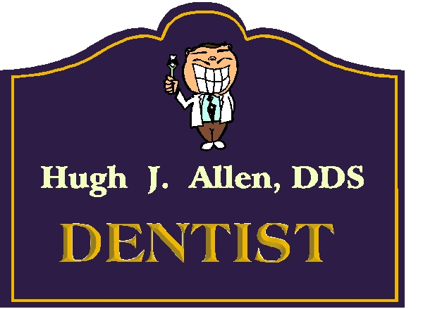 BA11620 –Sandblasted HDU Wall or Hanging Dentist Sign with Carved Smiling Man and Toothbrush.