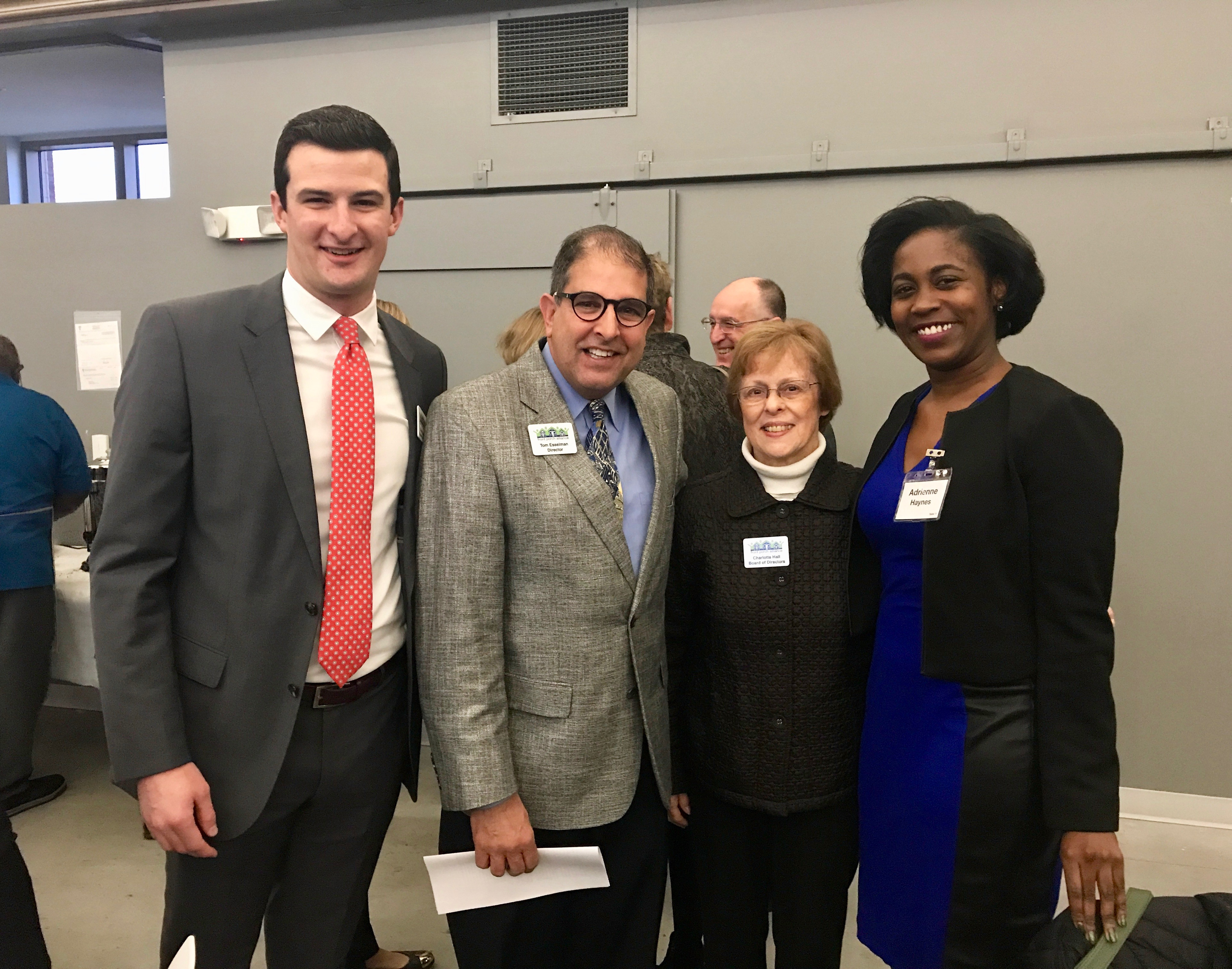 Scott Sturgeon, board member: Tom Esselman, director of Collaborative Leadership Team; Charlotte Hall, board member; Adrienne Haynes, Advisory board member, at the Rise and Shine Breakfast.