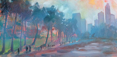 """Electric Downtown View at the Lake, oil & spray paint on canvas, 8"""" x 16"""""""