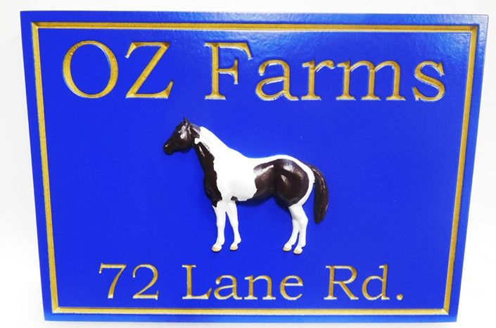 """P25082 - Engraved Entrance and Address Sign for the """"OZ Farms""""  with a 3-D Carved Horse as Artwork"""