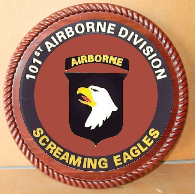 "MP-1580 - Carved Plaque of the Insignia of the 101st  Airborne  Division of the US Army,  ""The Screaming Eagles"",  Artist Painted"