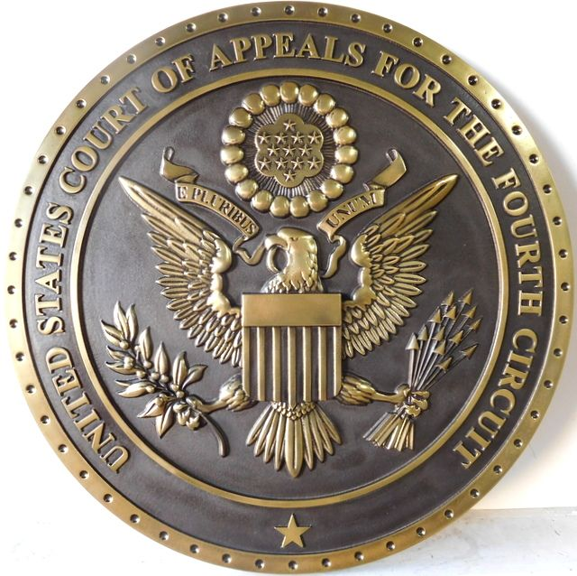 U30159 - Carved 3-D Brass Metal Wall Plaque for Seal of US Court of Appeals, Fourth Circuit