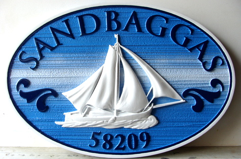 L21007A - Carved Property Name & Address Sign, with Sailboat