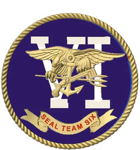 JP-1840 - Carved Plaque of Seal of  Navy Special Warfare Group (SEAL Team) Six, Artist Painted with Metallic Brass Painted Badge