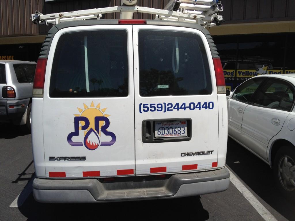 Back of PR Plumbing Van