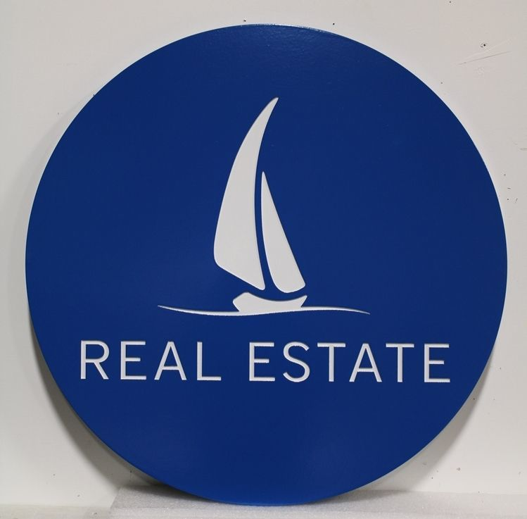 L21327 - Carved  2.5-D Multi-level Relief HDU Real Estate Sign with Stylized Sailboat as Artwork