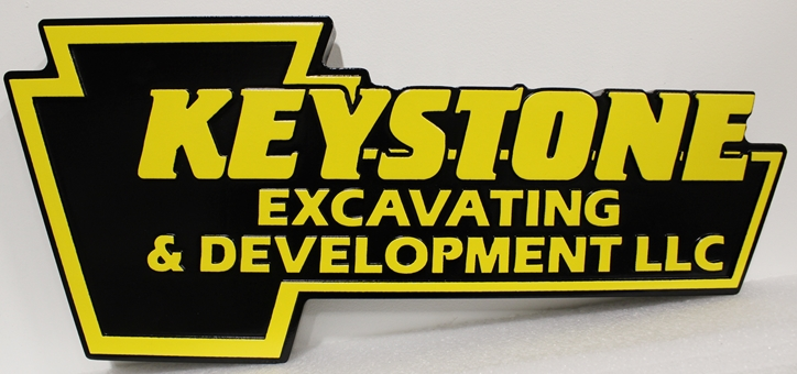 S28132 - Carved Multi-Level High-Density-Urethane (HDU) Key-shaped Sign made for the Keystone Excavating & Development Company.