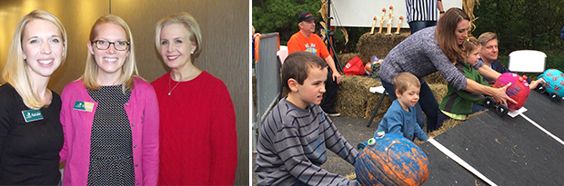 A photo of three NGI members, a photo of children putting painted pumpkins on toy race cars