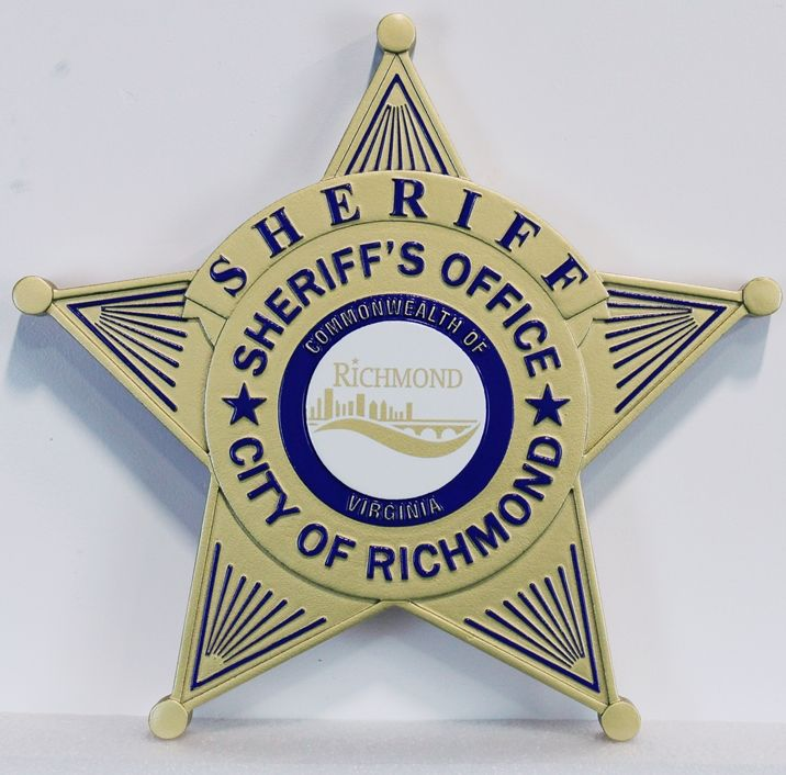 PP-1672 - Carved Plaque of the Star Badge of the Sheriff's Office, City of Richmond, 2.5-D Artist-Painted