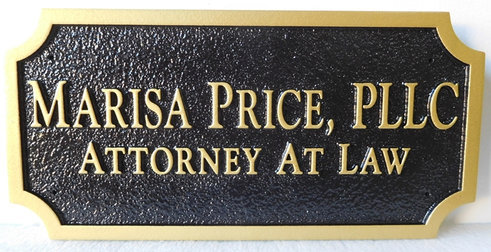 A10490 - Sandblasted, Sandstone Look, HDU Sigh in Black and Gold for Office of Attorney at Law