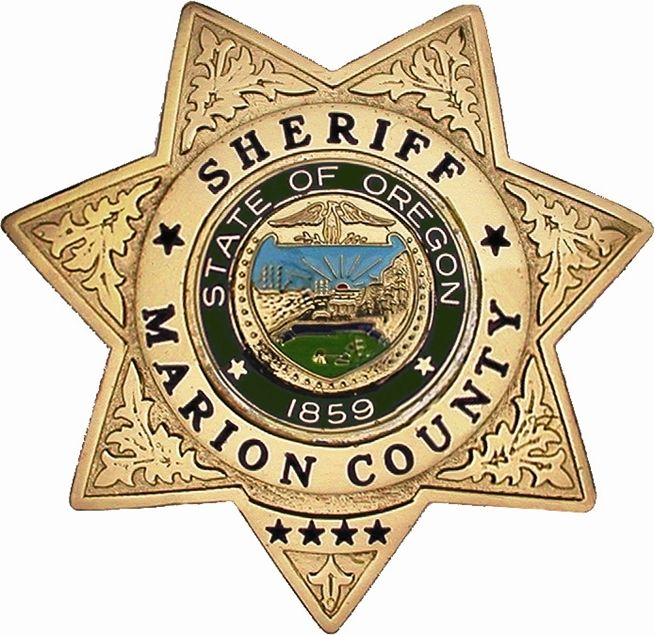 PP-1690 - Carved Wall Plaque of the Star Badge of the Sheriff's Office, Marion County, Oregon, Metallic Gold Painted