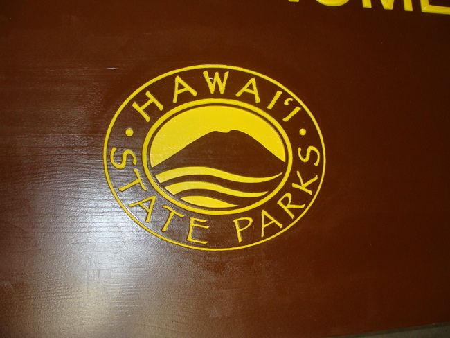 G16213 - Carved Hawaii State Emblem with Volcano and Sea