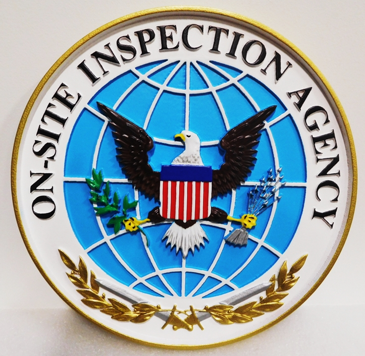 IP-1723 - Carved Plaque of theSeal of the On-Site Inspection Agency, 3-D Artist-Painted