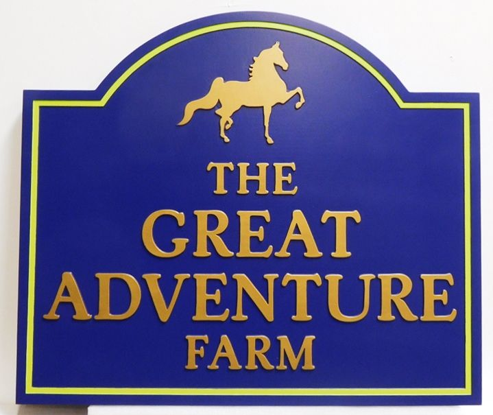 """P24234 - Entrance Sign for """"The Great Adventure Farm""""  with a Silhouette of a Horse as Artwork"""