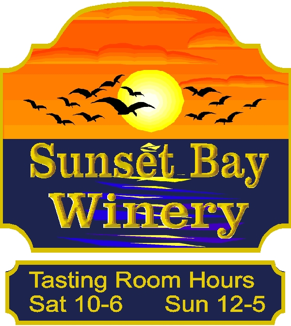 R27064 - Carved Entrance Sign for Winery, with Rider Sign Beneath