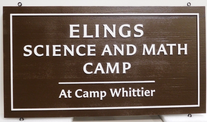 G16323 - Carved  Western Red Cedar Sign for the Elings Science and Math Camp