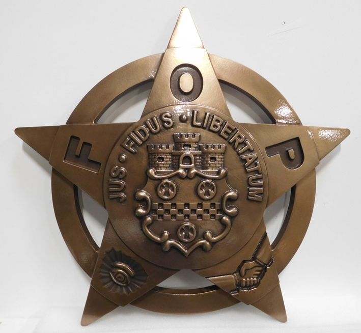 M7016 - 3-D Bronze-platedPlaqueof the Star Badge of the Fraternal Order of Police