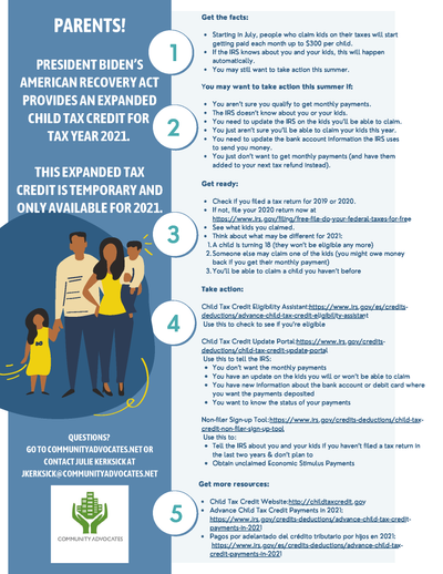 Community Advocates Child Tax Credit Flyer