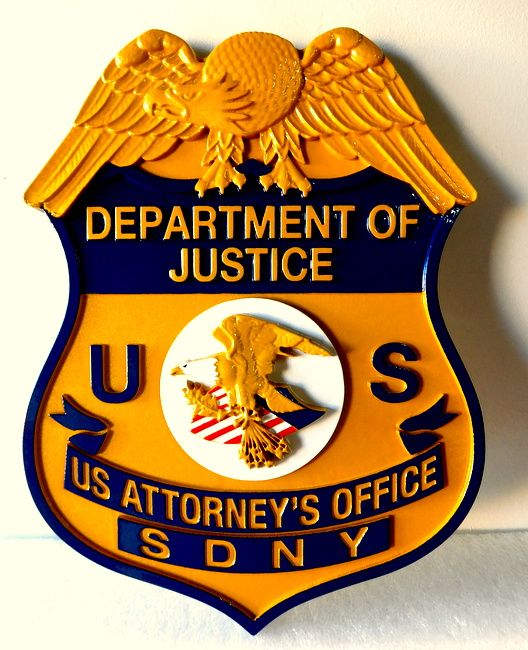 X33626 - Wall Plaque of the Badge for US Department of Justice, US Attorney's Office