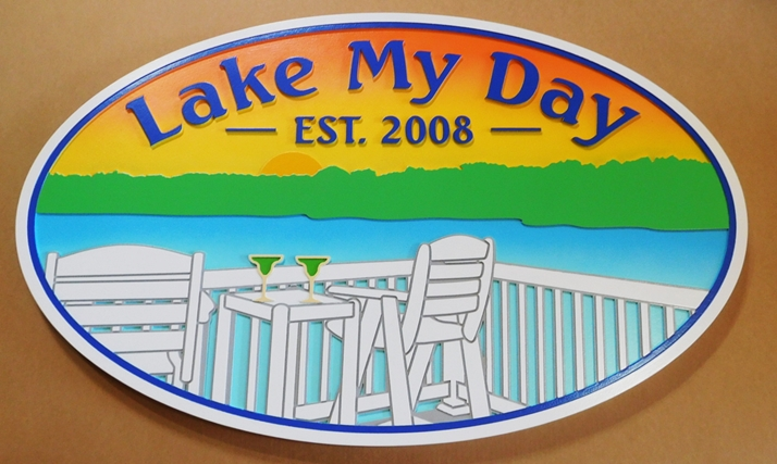 "M22436 - Carved ""Lake My Day"" Lake House Sign, with Sunset and Chairs on a Deck facing a Lake."