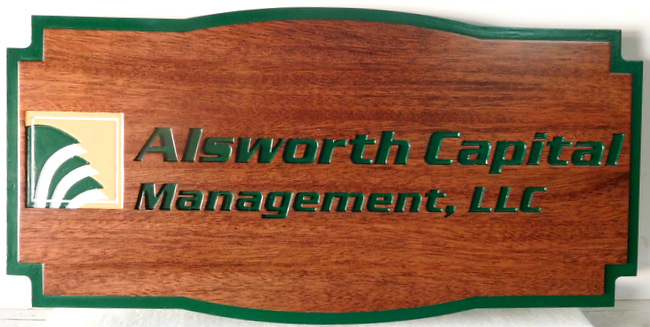 C12017 - Carved Mahogany Wood Wall Sign for Capital Management Company
