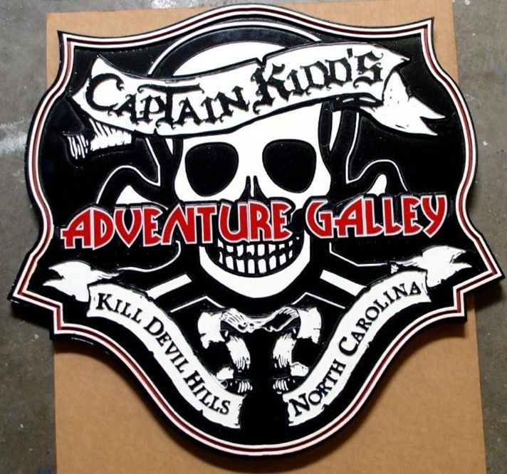 GA16500 - Carved HDU Sign for Amusement Theme Park for Captain Kidd's Adventure Galley