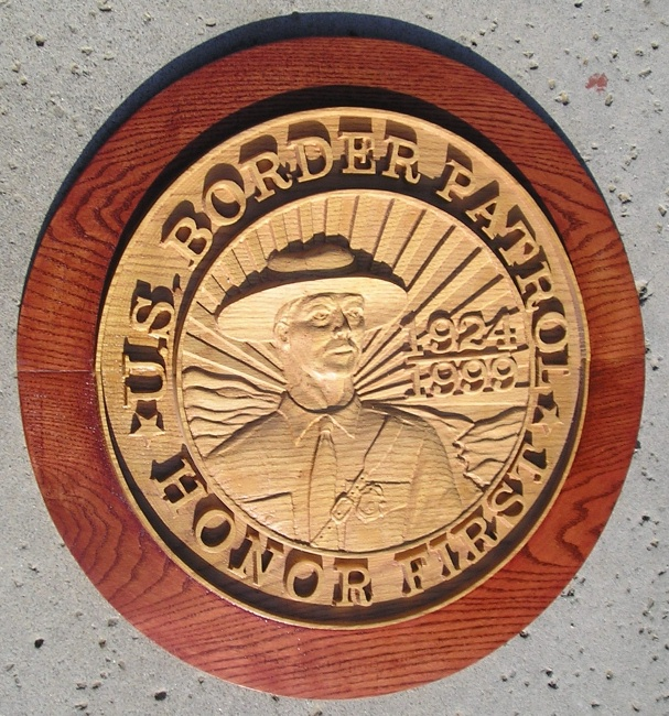 "N23770 - US Border Patrol ""Honor First ""Carved 3-D Oak Wall Plaque"