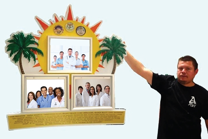 JP-2480 - Carved Photo Command Board of a Naval Hospital,   Artist  Painted with Giclee Printed Photos
