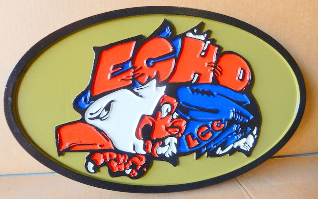 """V31787 - Wall Plaque for the Crest of a US Army Unit """"Echo"""""""